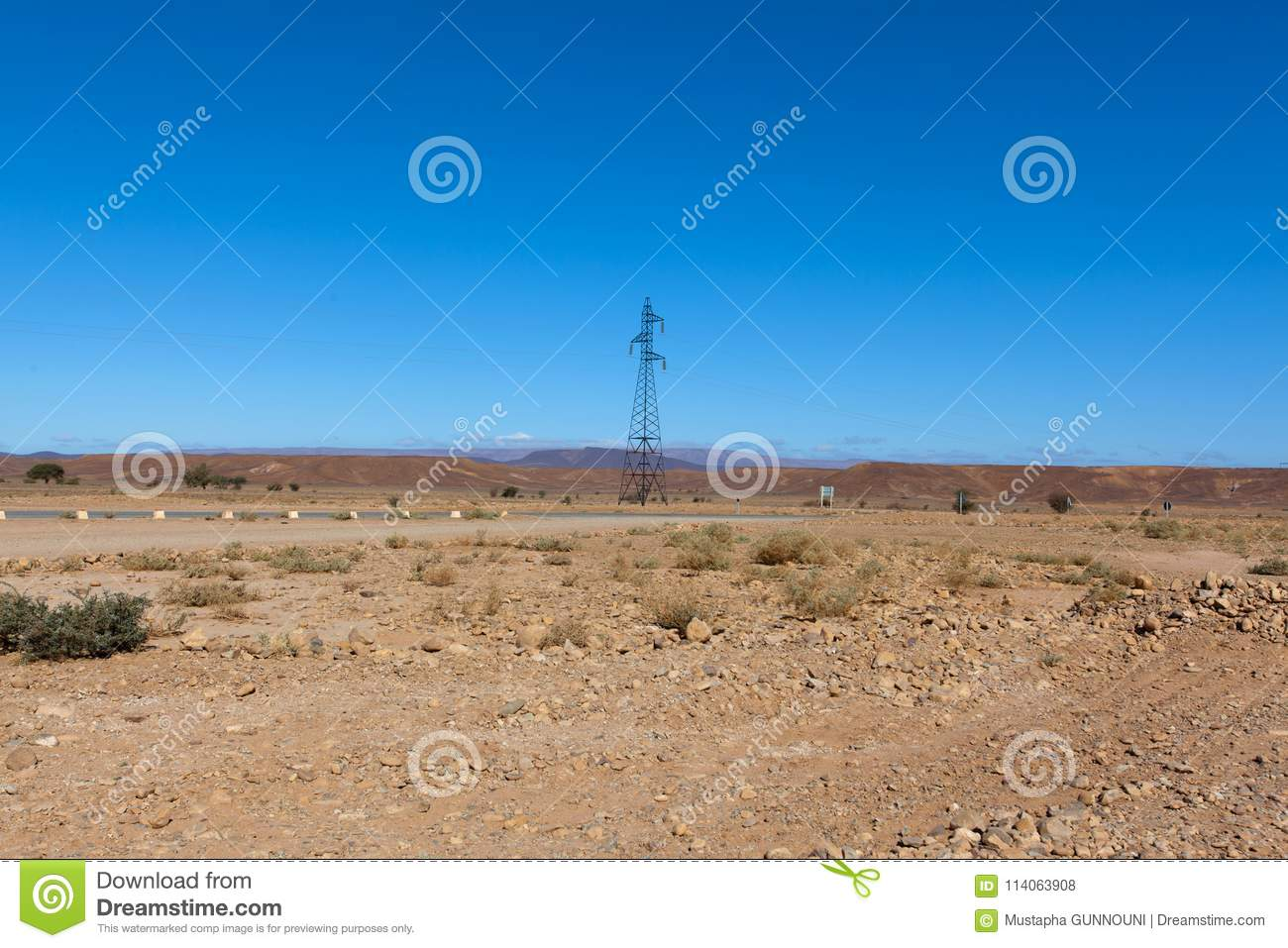 Moroccan rocky desert landscape with plants and mountain range