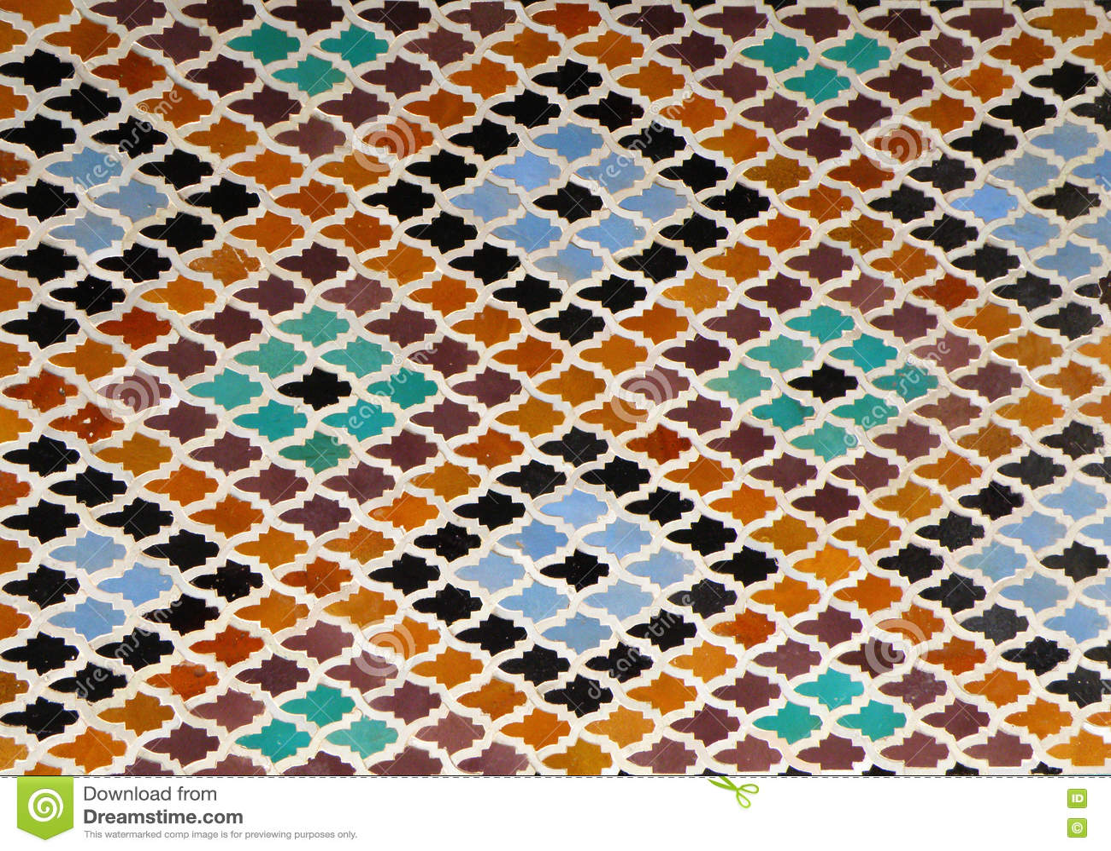 Moroccan Style Diamondshaped Pattern Bright Blue Orange Brown Color