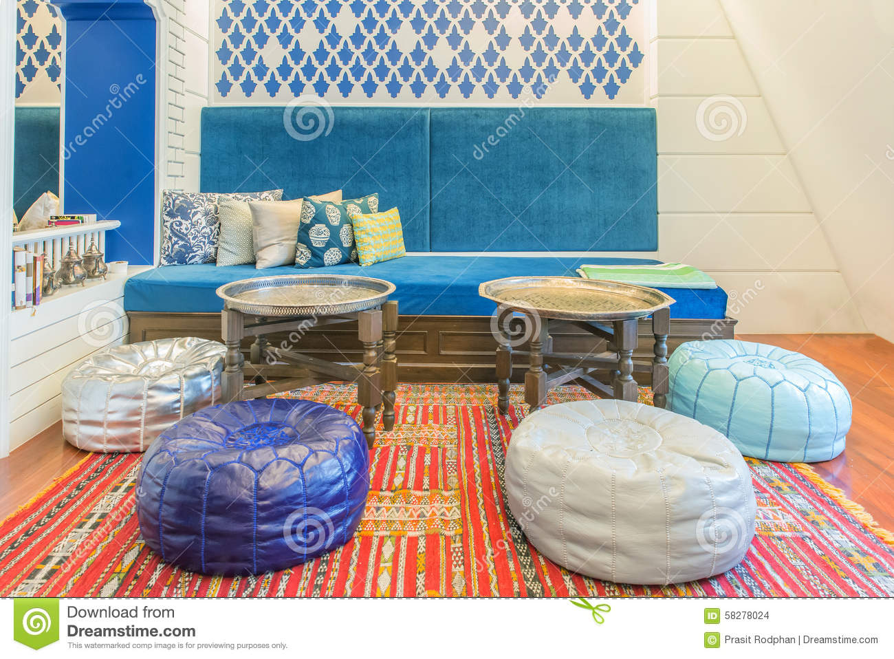 Moroccan Style In Living Room. Stock Photo - Image of arabian ...