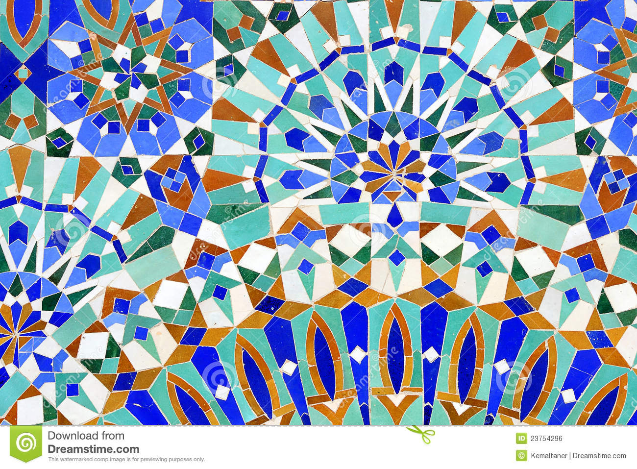 Traditional moroccan tiles found in 2 hassan mosque casablanca