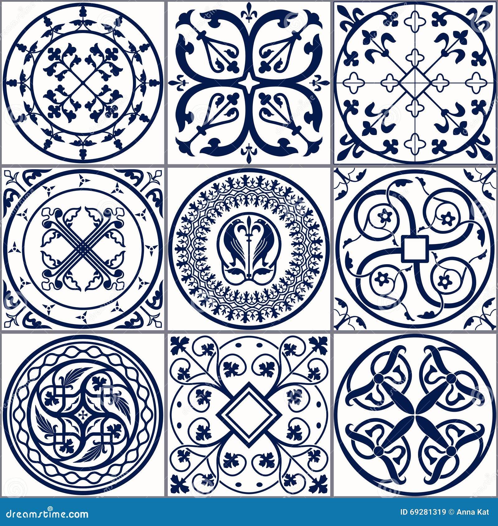 Vector of moroccan tile seamless pattern tile for design tile - Royalty Free Vector Ages Background Blue Ceramic Design Illustration Middle Moroccan Ornament Pattern Seamless Spanish Textile Texture Vector