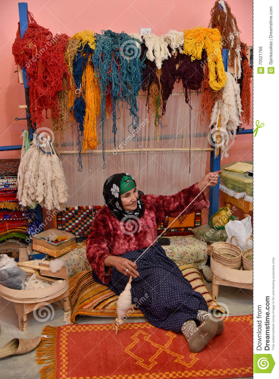 Moroccan Weaver Spinning Yarn Editorial Photo Image Of
