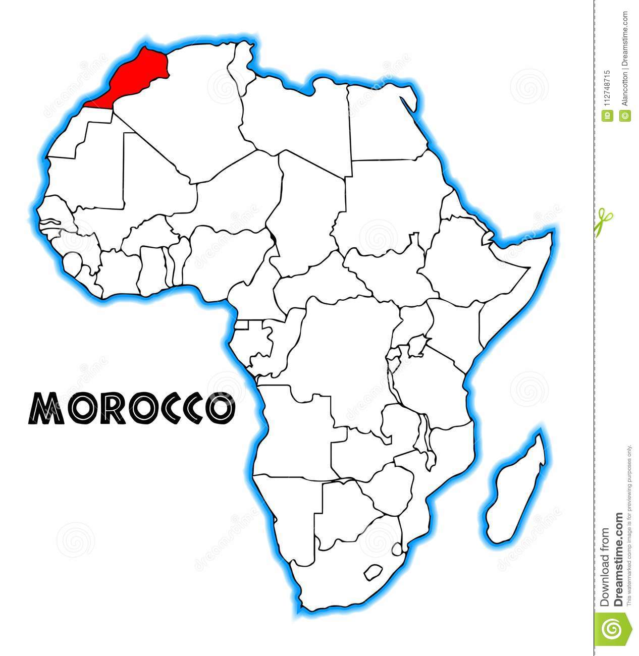 Morocco Map Africa Morocco Africa Map stock vector. Illustration of outline   112748715