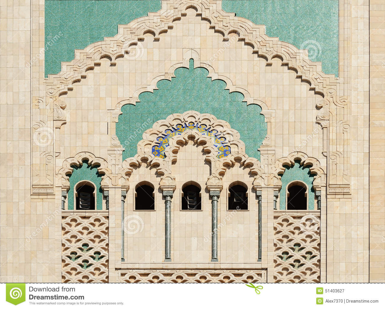 Mosque Detail: Morocco. Detail Of Hassan II Mosque In Casablanca Stock