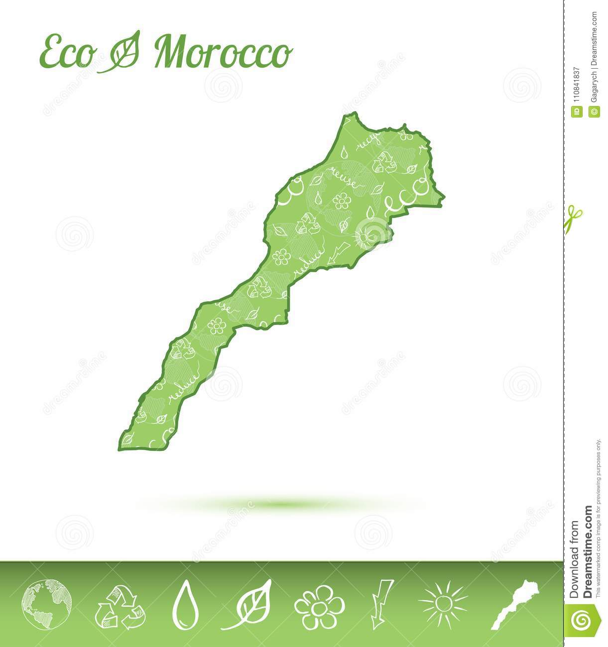 Flower Concept Map.Morocco Eco Map Filled With Green Pattern Stock Vector