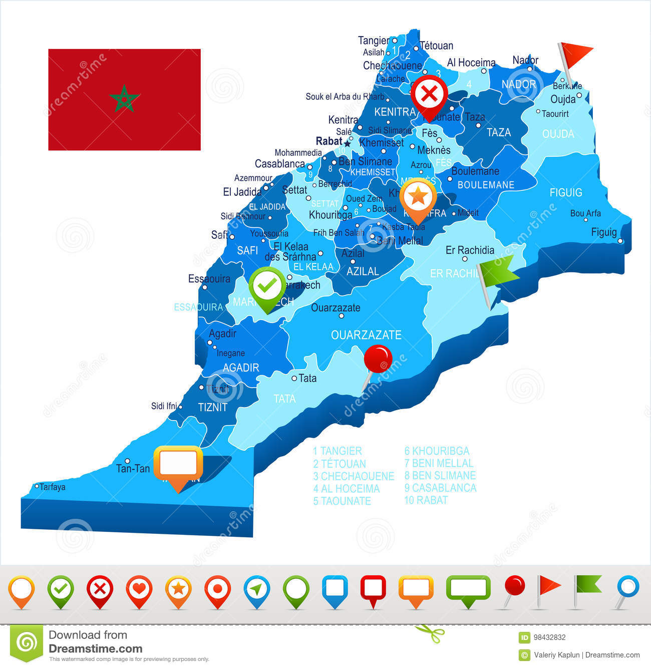 Morocco - Map And Flag Illustration Stock Illustration ... on