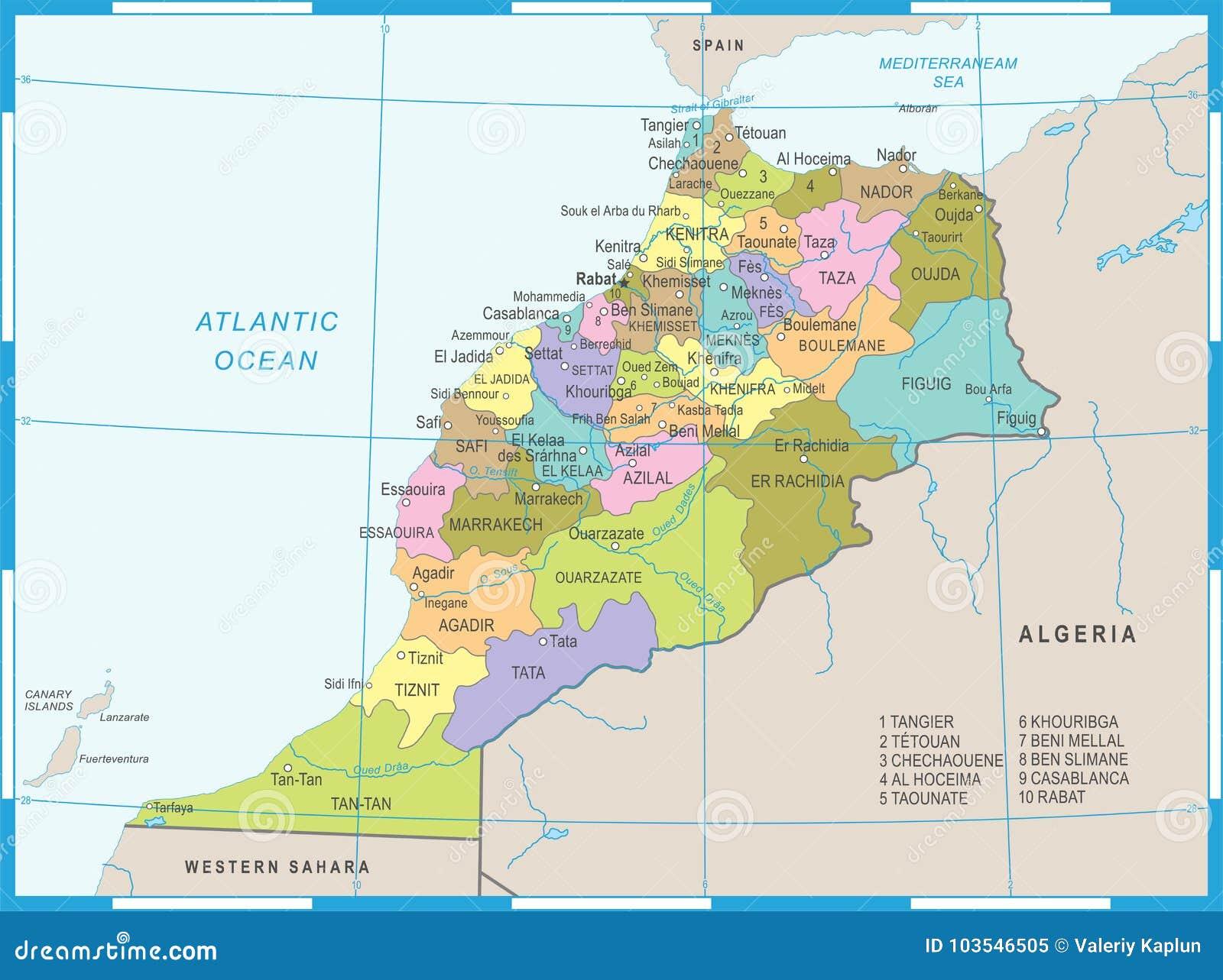 Marocco Cartina.Morocco Map Detailed Vector Illustration Stock Illustration