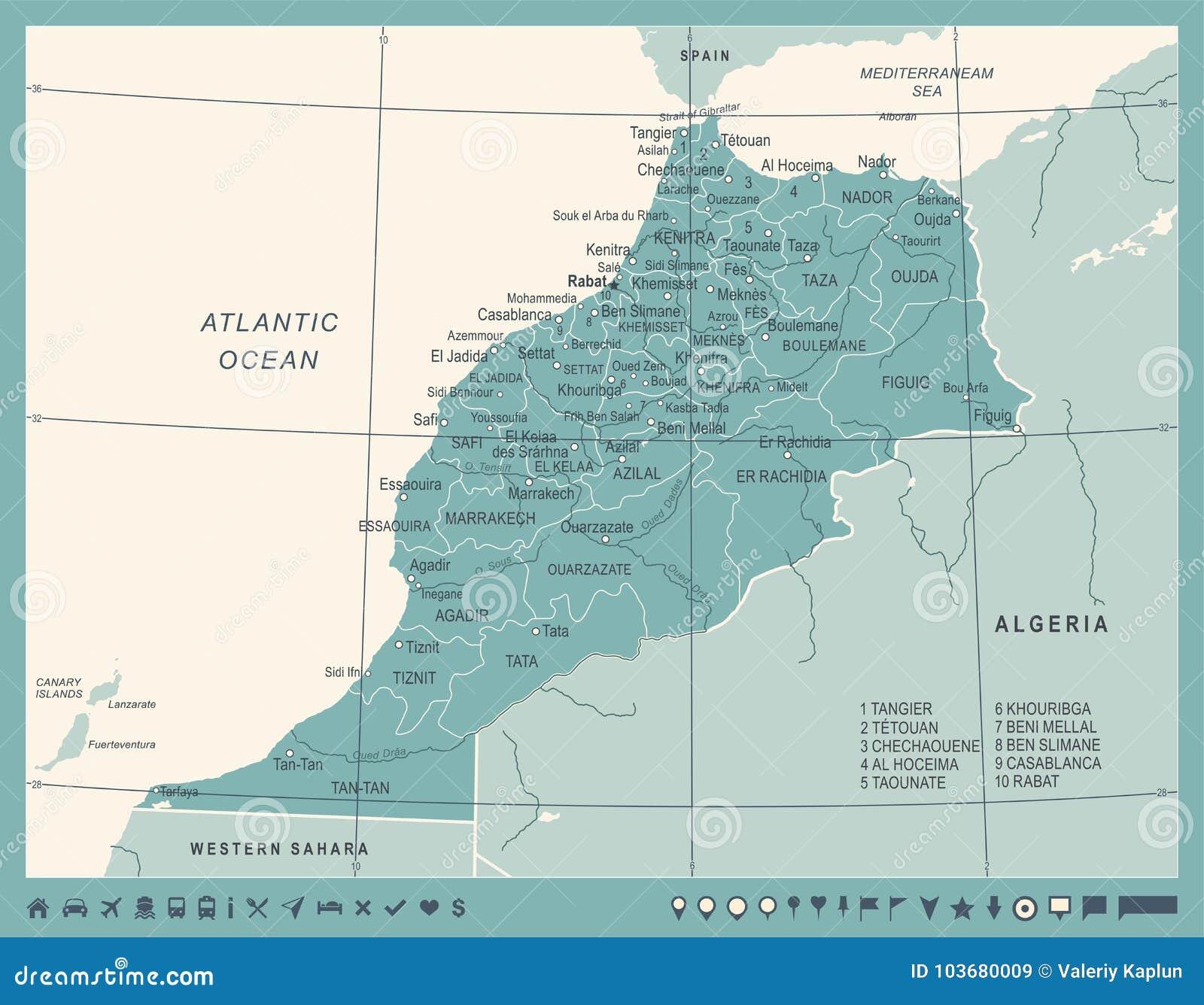 Morocco Map - Vintage Vector Illustration Stock Illustration ...