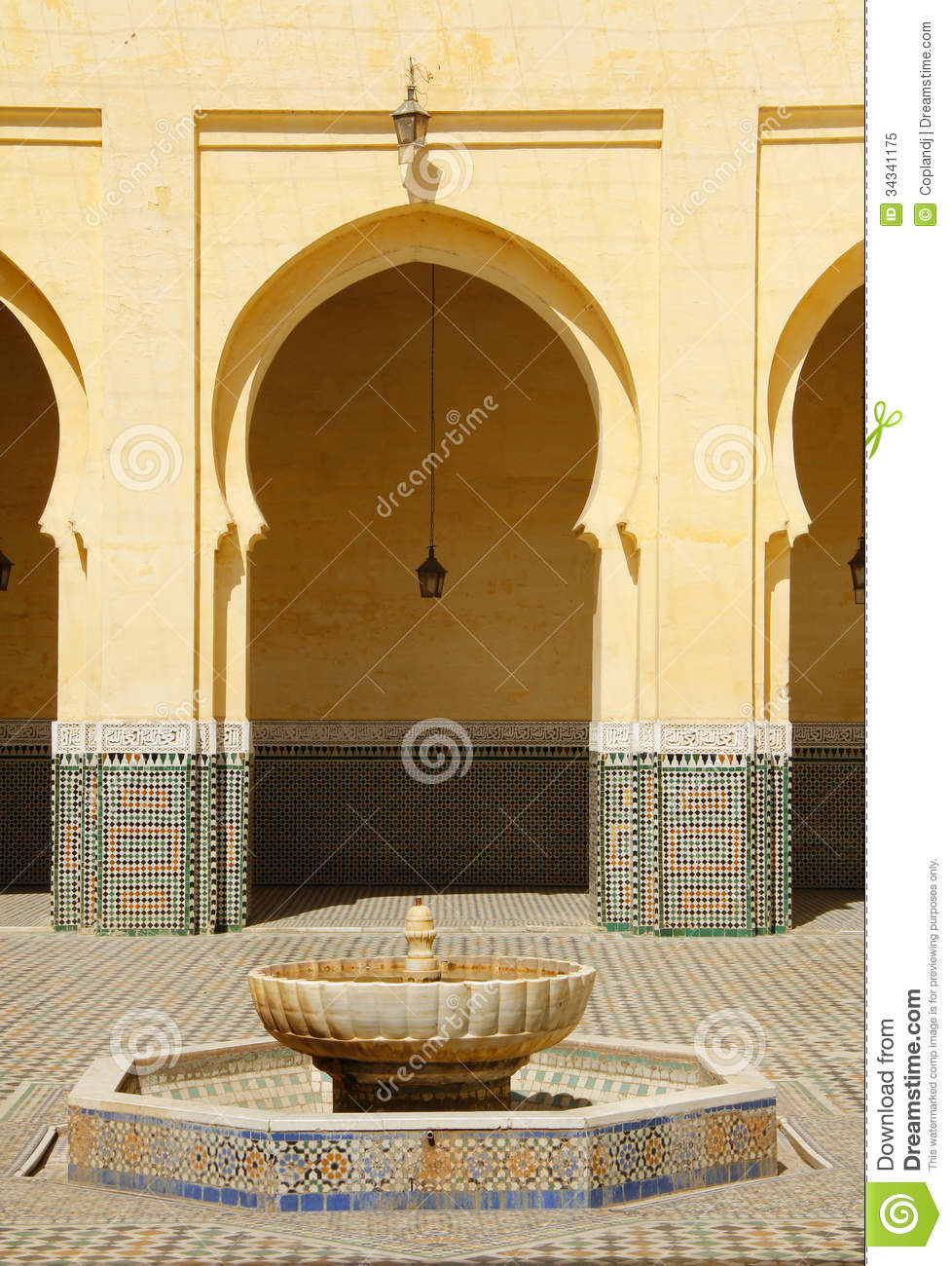 Morocco Meknes Islamic Arches And Patio Royalty Free