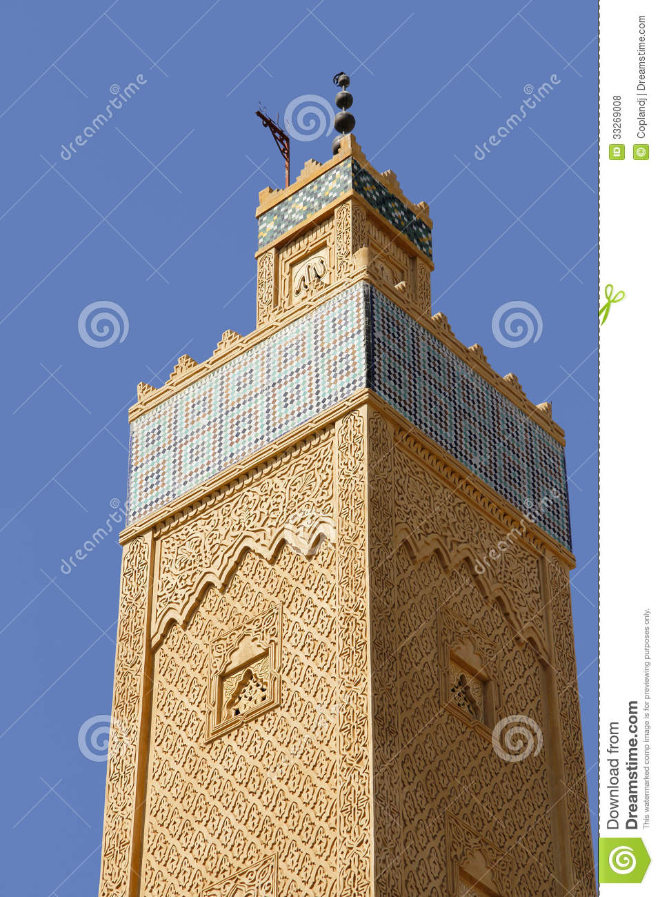 Morocco meknes mosque minaret royalty free stock photos for Arabesque style decoration