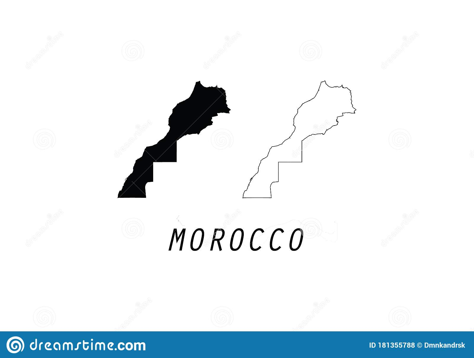 Picture of: Morocco Outline Map Country Shape Stock Vector Illustration Of Flag Africa 181355788