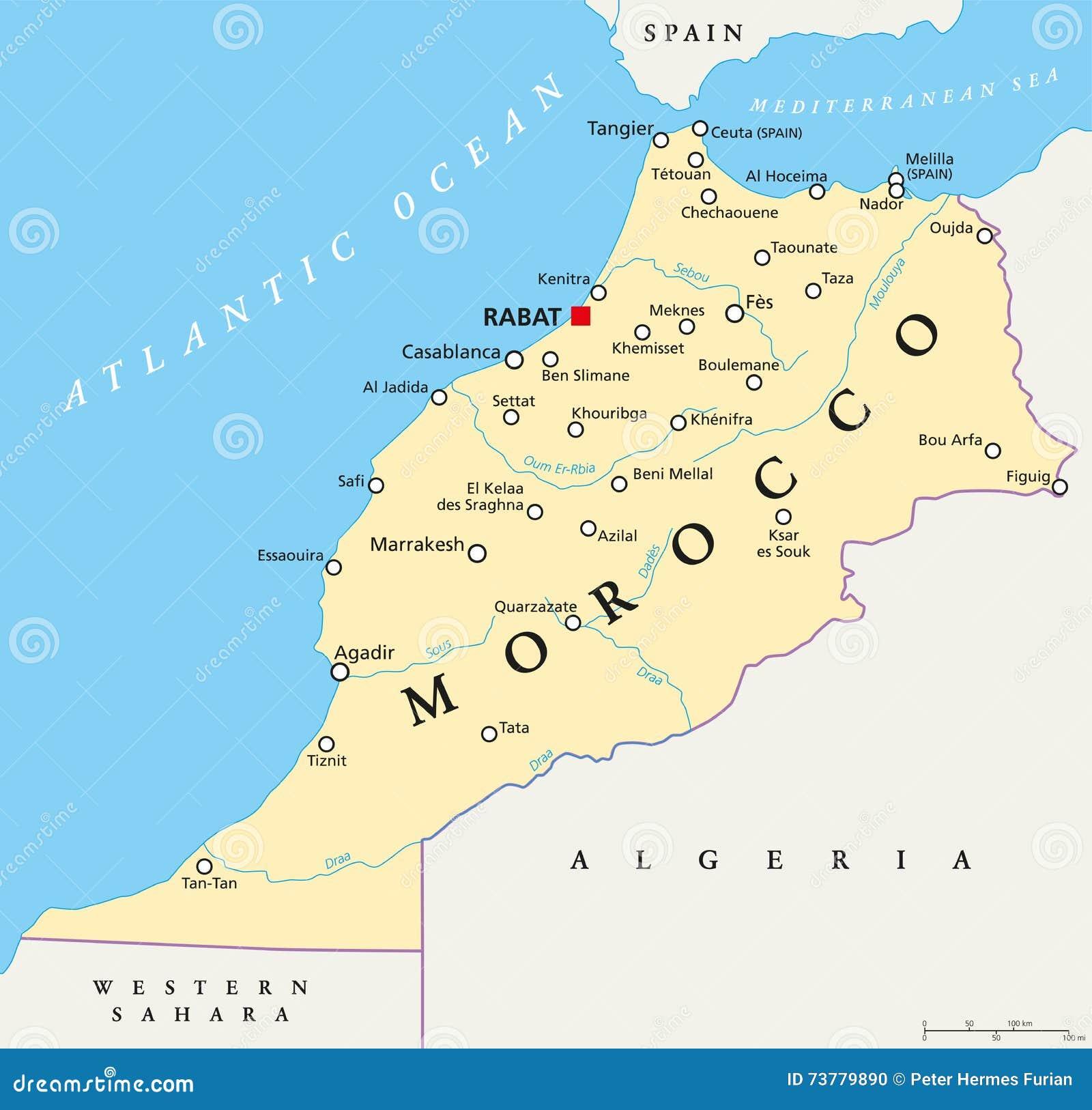 Morocco Political Map stock vector. Illustration of mediterranean ...
