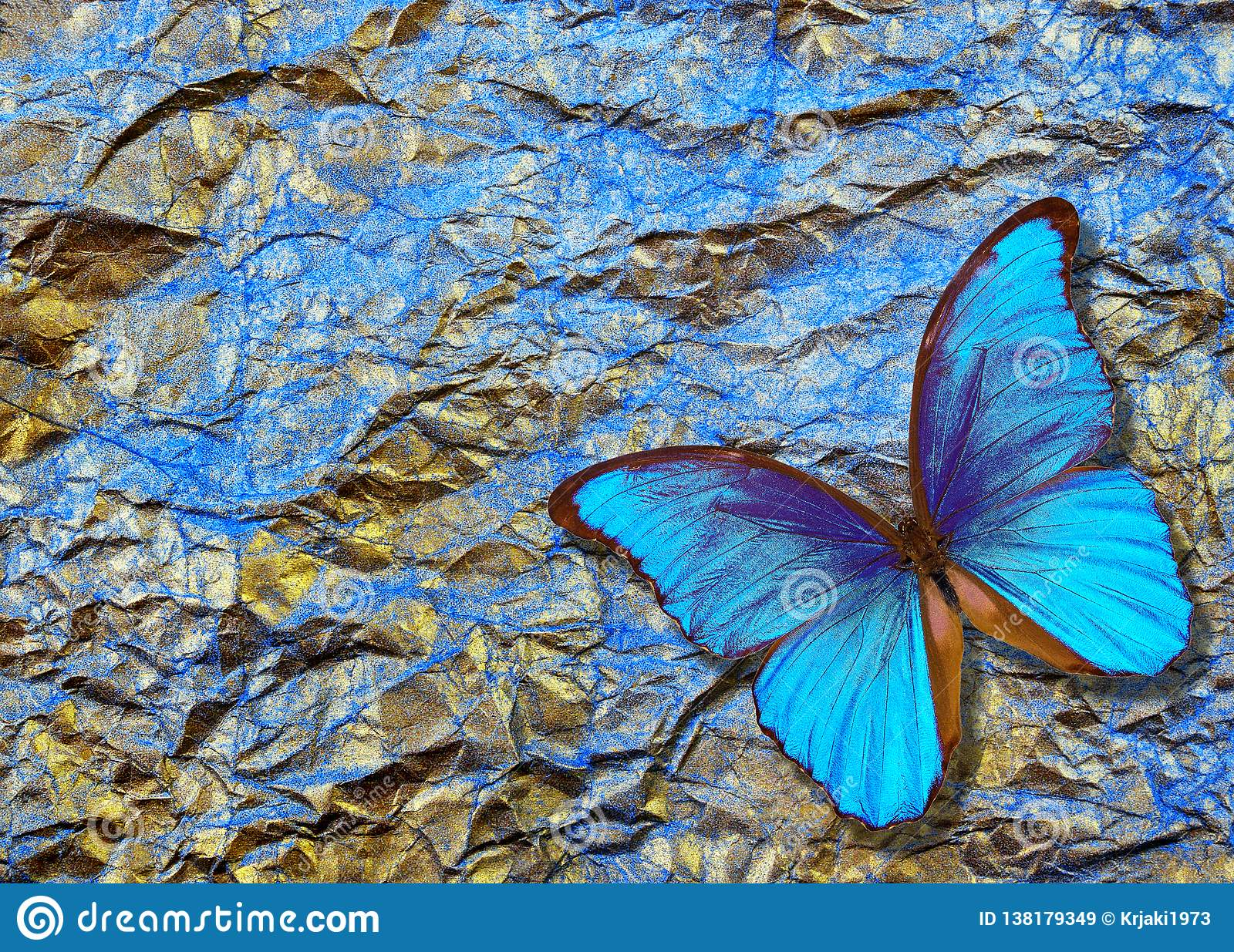Morpho Butterfly On Bright Shining Background. Gold Blue ...