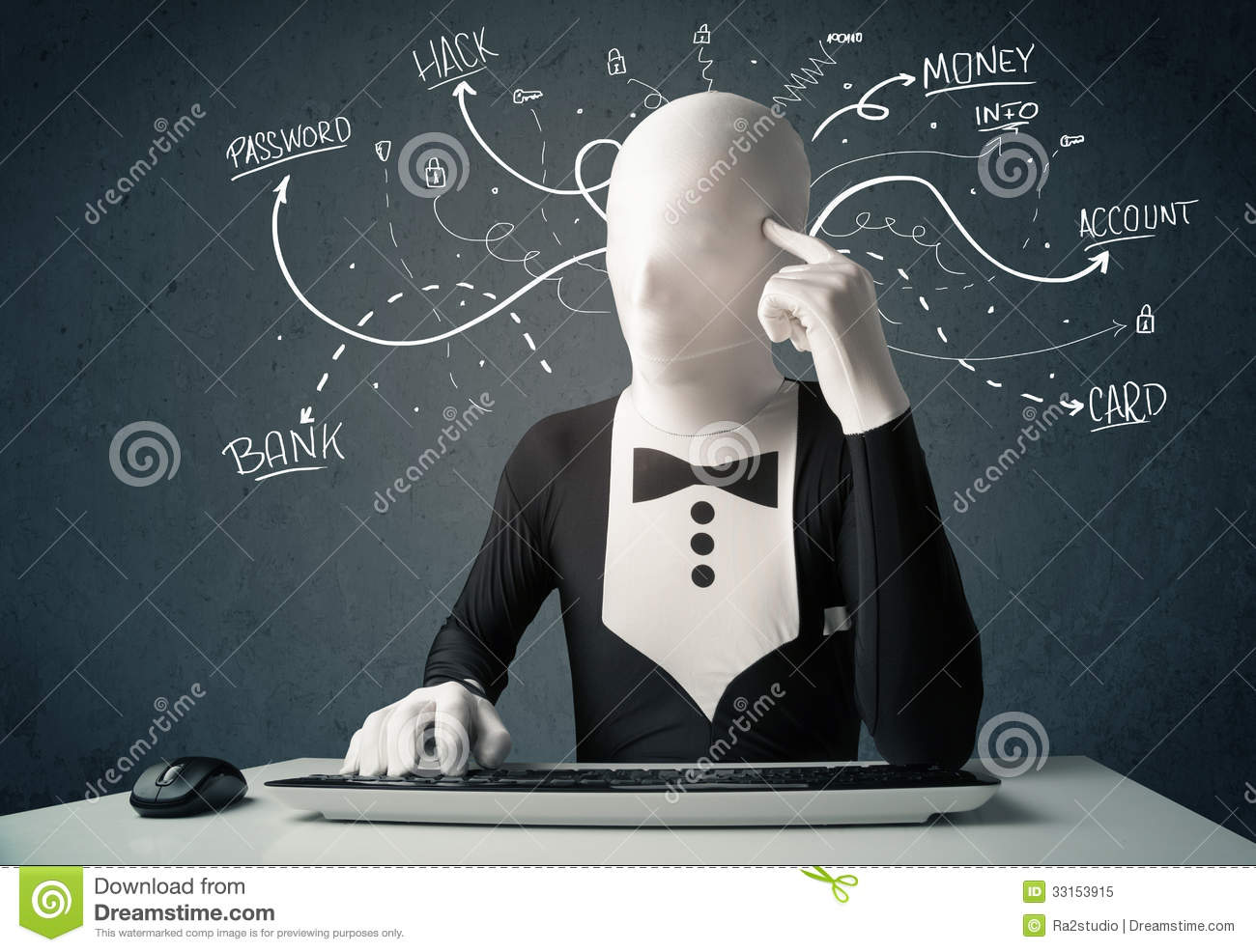 Morphsuit Hacker With White Drawn Line Thoughts Royalty Free Stock ...