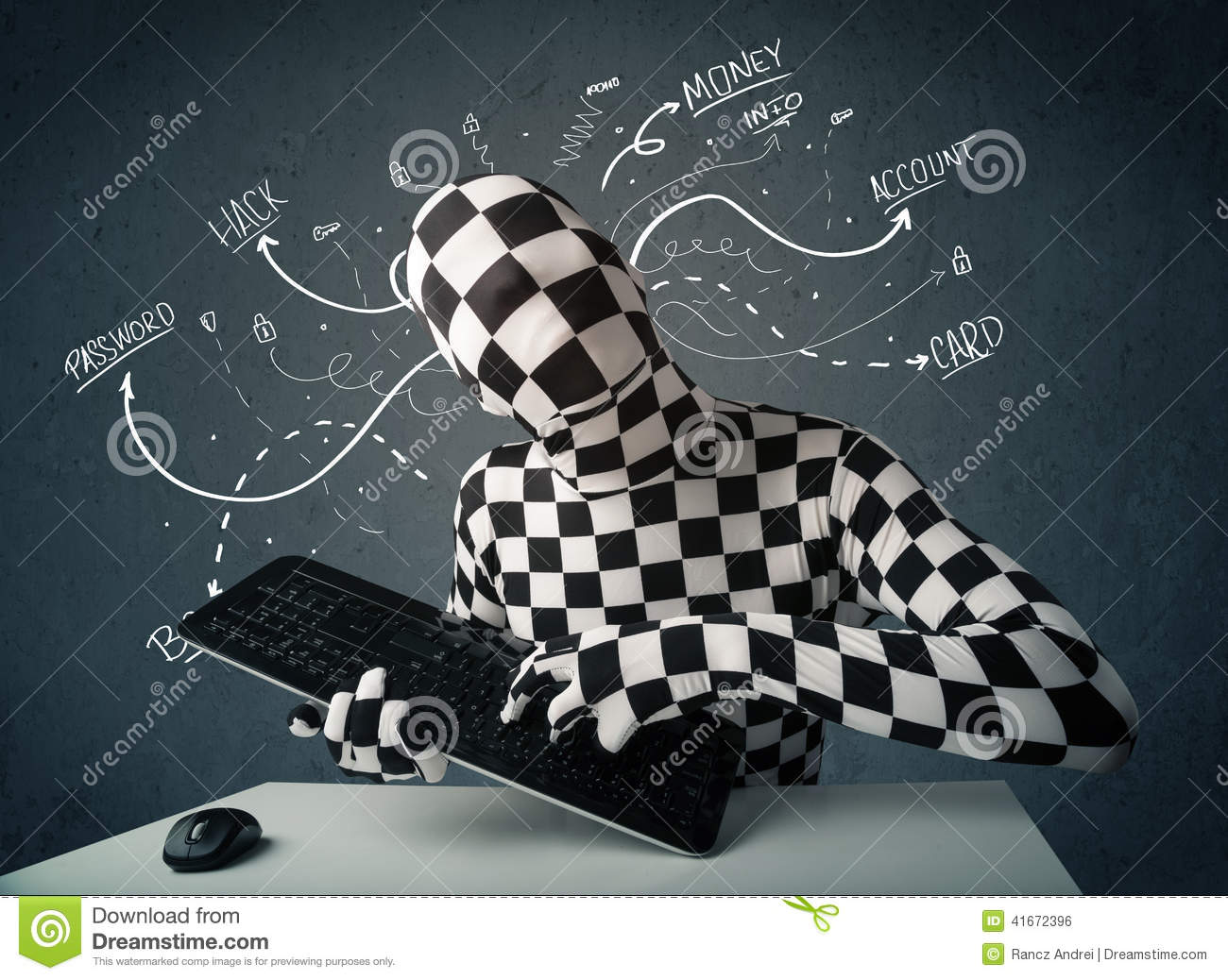 Morphsuit Hacker With White Drawn Line Thoughts Stock Photo - Image ...