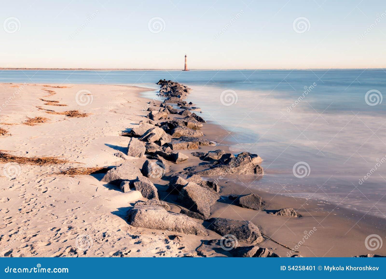Morris Island Lighthouse at sunny morning