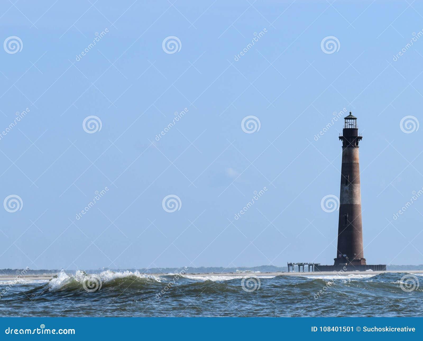 Morris wyspy latarnia morska z fala głupoty plaży SC