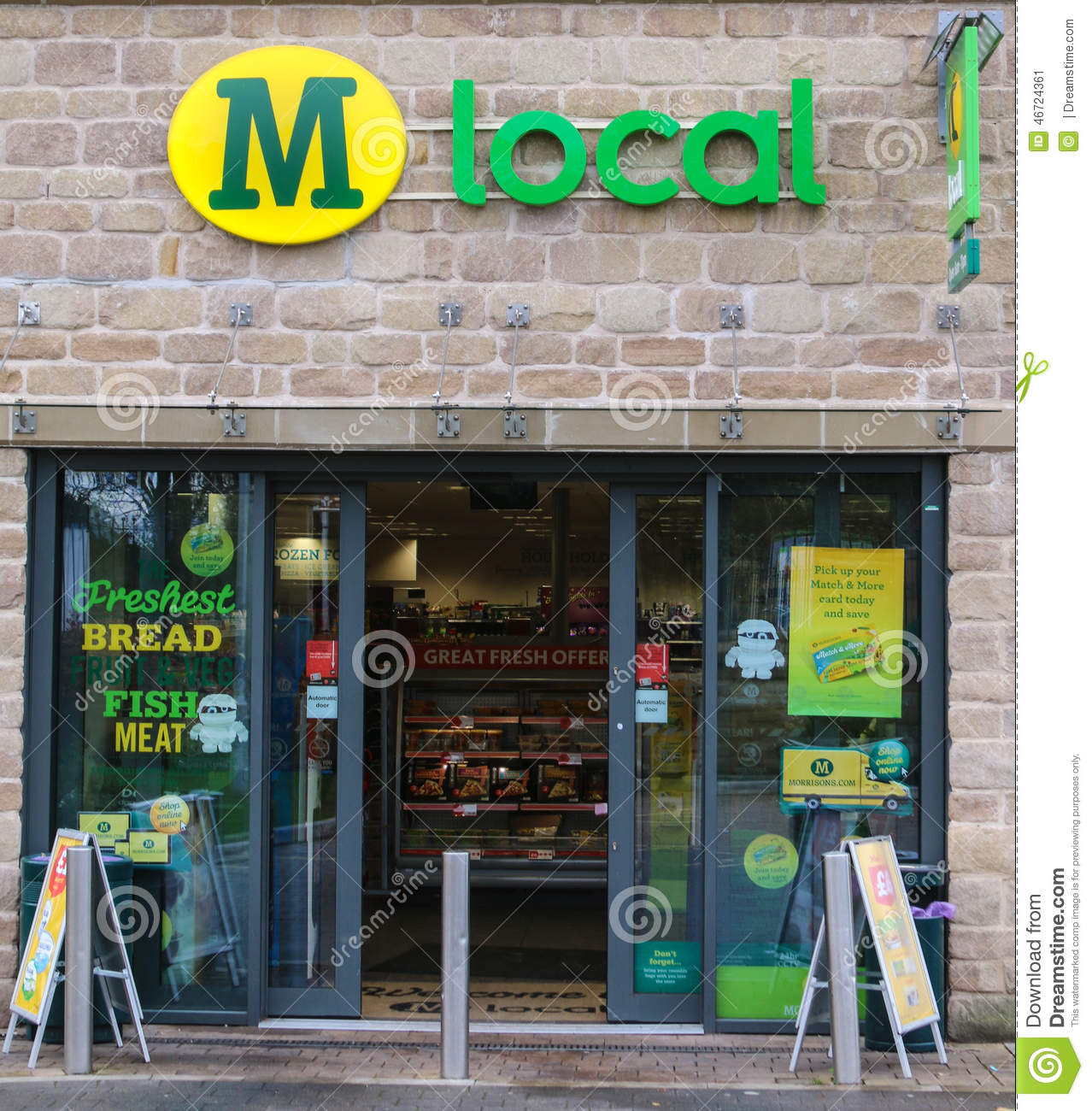 Morrisons local convenience shop exterior view editorial for Convenience store exterior design