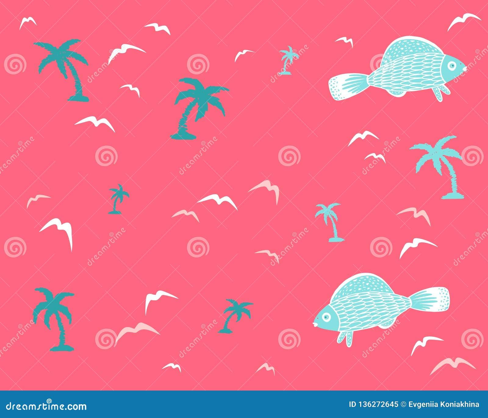 Morski bezszwowy tło z rybą i drzewkami palmowymi