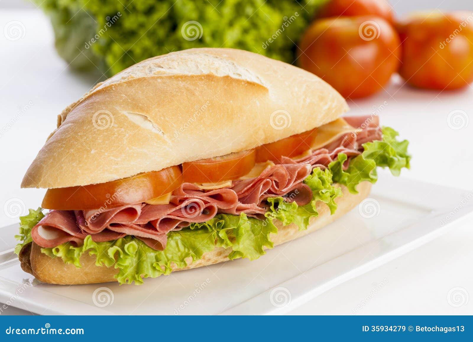 Mortadela sandwich stock image. Image of large, bologna ...