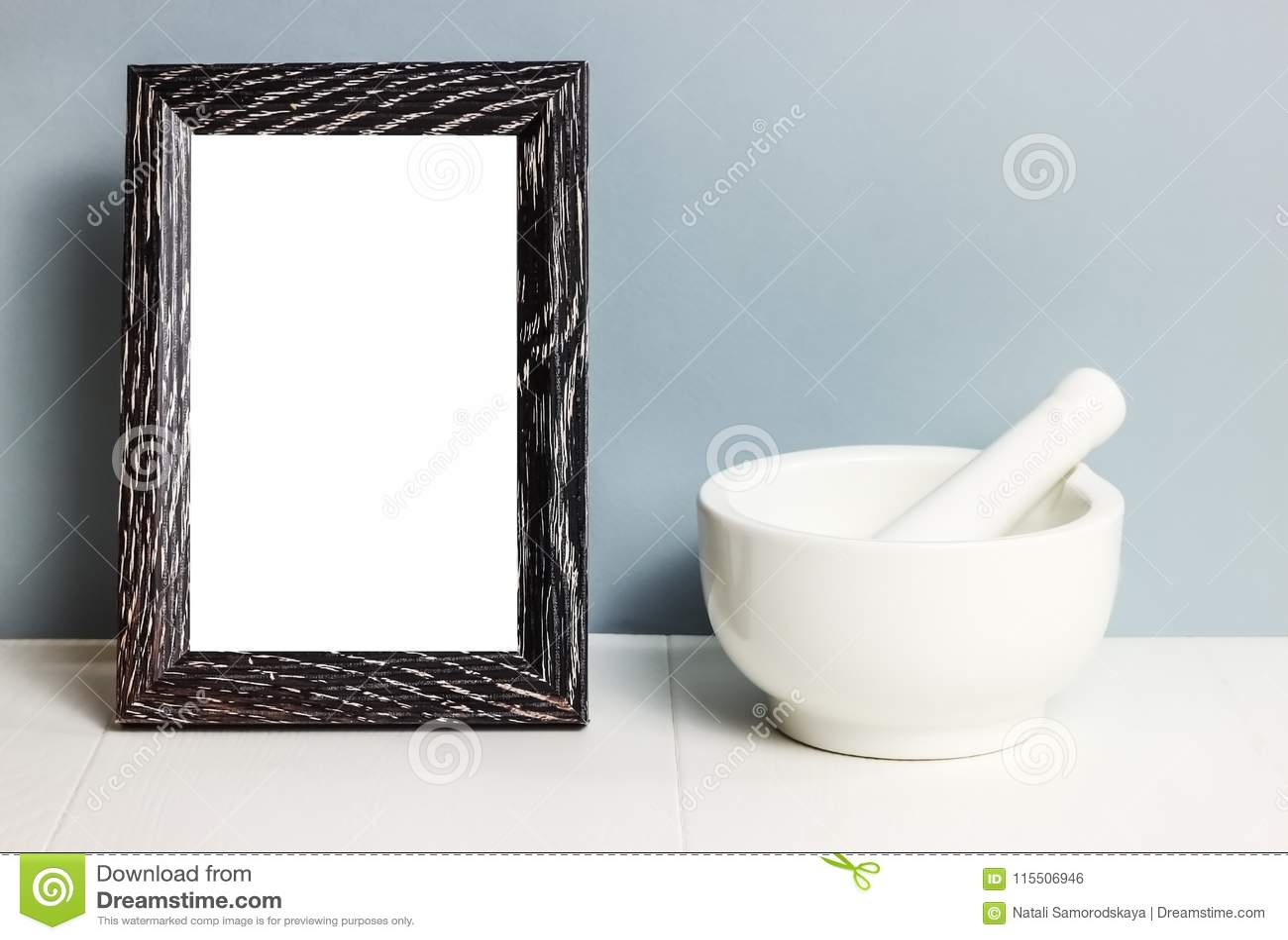 Mortar. Bowl For Press. White Tableware On Table. Ceramic Stiff ...