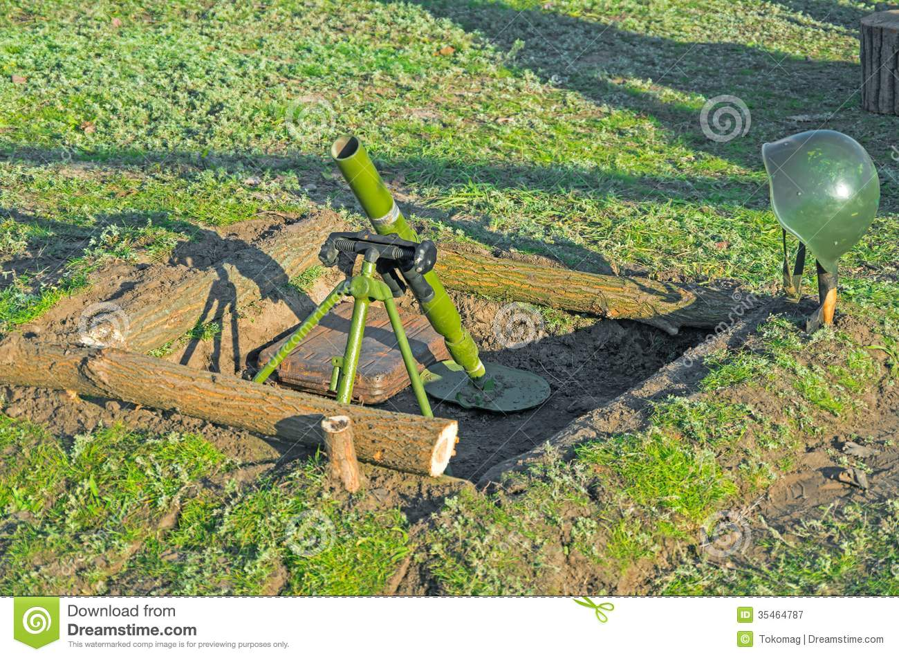 Mortar In Field : Mortar royalty free stock photography image