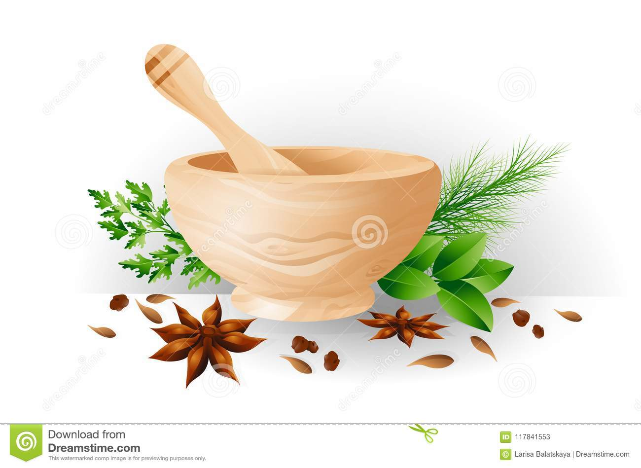 Mortar and pestle, herbs and spices