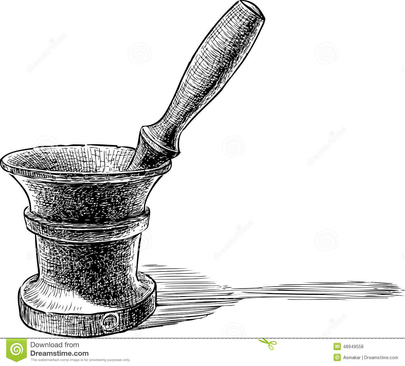 Mortar stock vector. Illustration of metal, bowl, vintage - 48949558 for Mortar And Pestle Drawing  45gtk