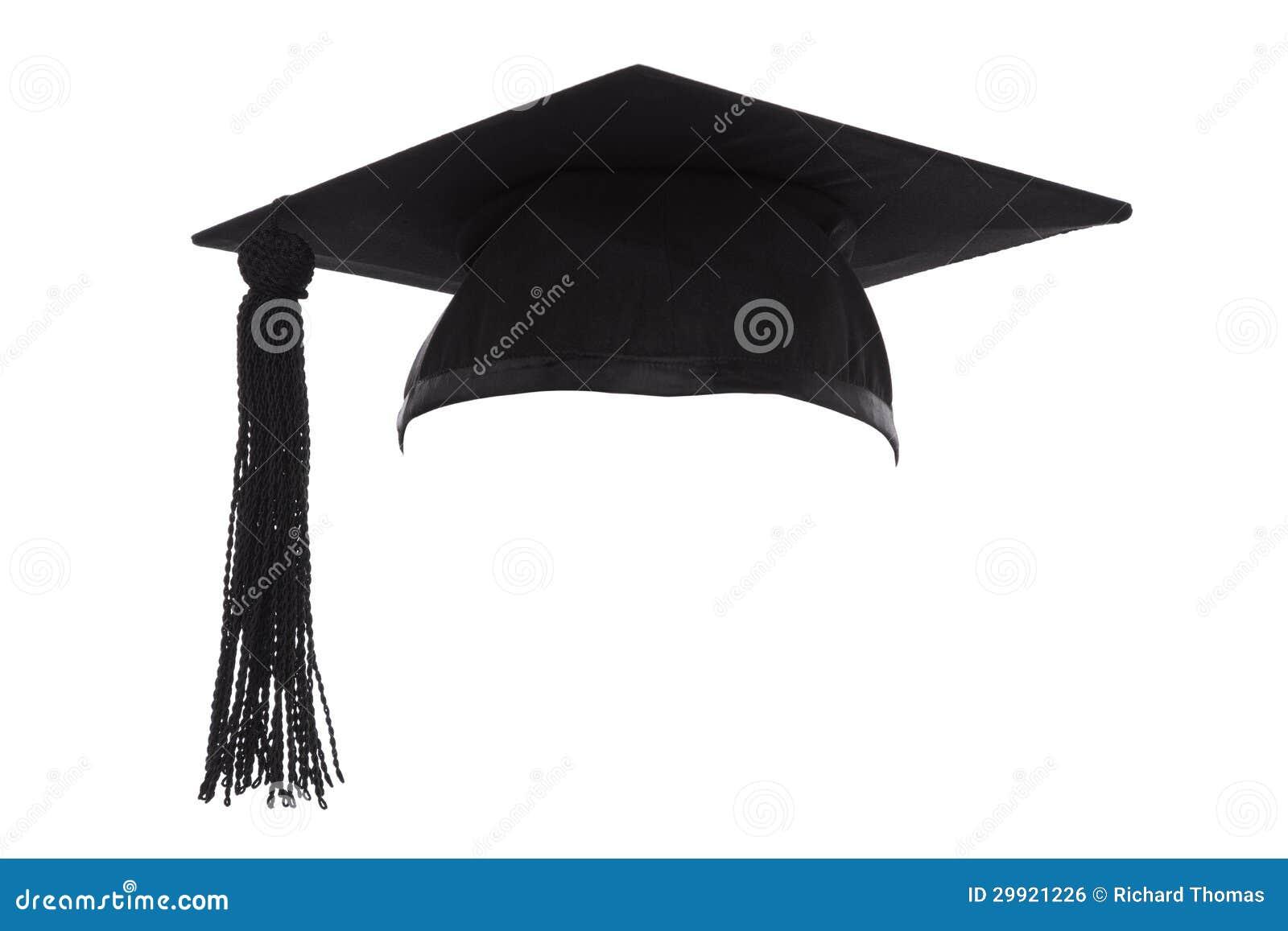 Mortel stiger ombord avläggande av examenlocket som isoleras på vit