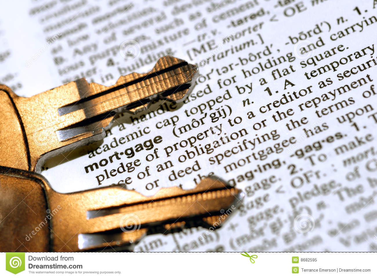 Mortgage Definition Magnifier Showing Property Or Real Estate Lo Royalty-Free Stock Photography ...
