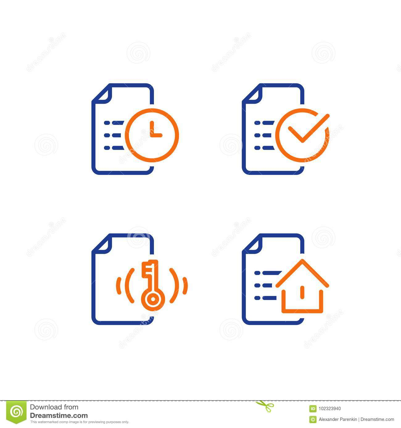 Rental house contract creation, mortgage application form, home loan terms and conditions, real estate concept, vector icon