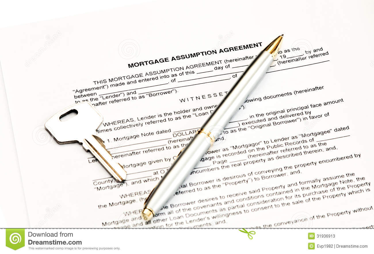 Mortgage Assumption Agreement Stock Image Image Of Buying Deed