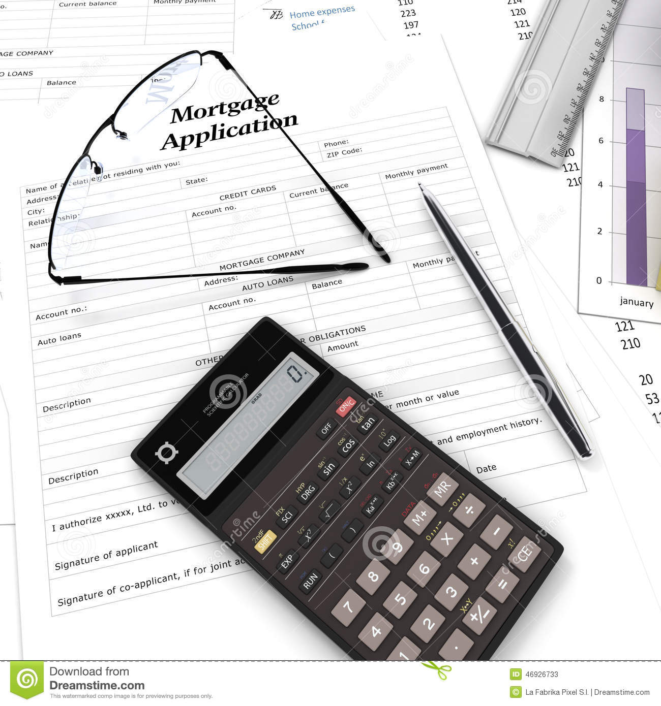 Mortgage calculation stock image. Image of credit, buying - 46926733