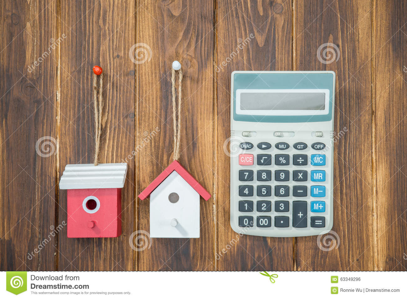 Mortgage Calculator House With Calculator Stock Photo