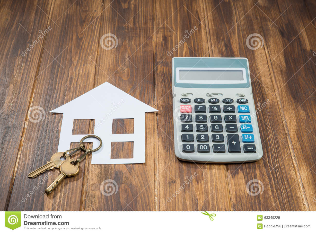 Mortgage calculator house and key with calculator stock for Building a home calculator