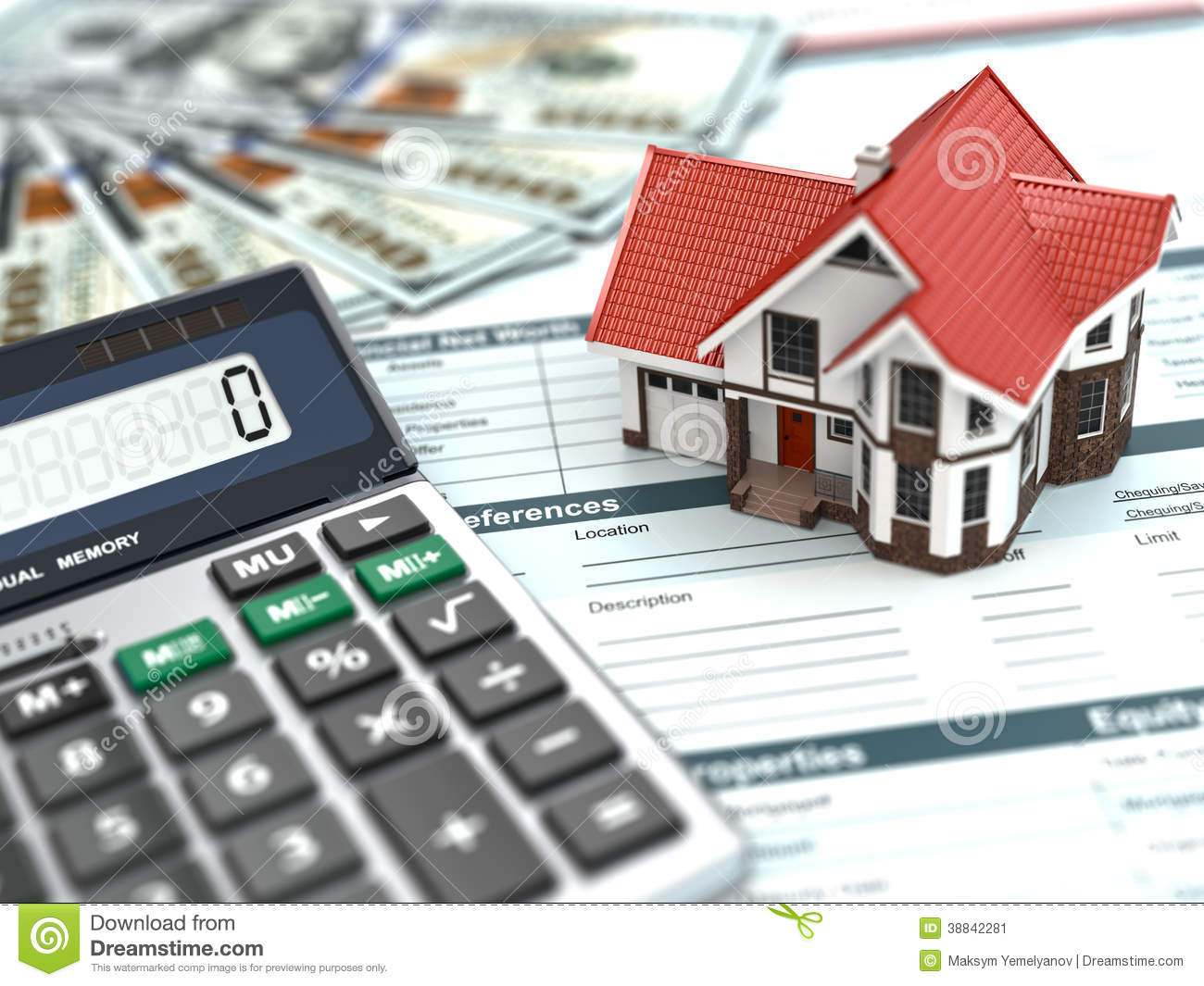 Mortgage Calculator House Noney And Document Stock