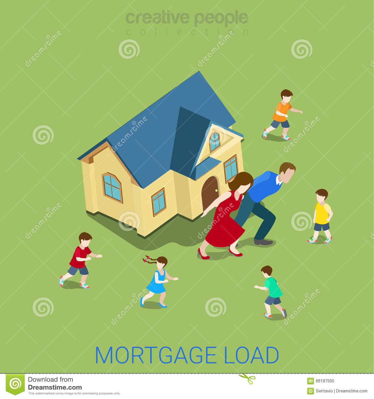 Mortgage Load Loan Burden Family House Flat 3d Vector Isometric
