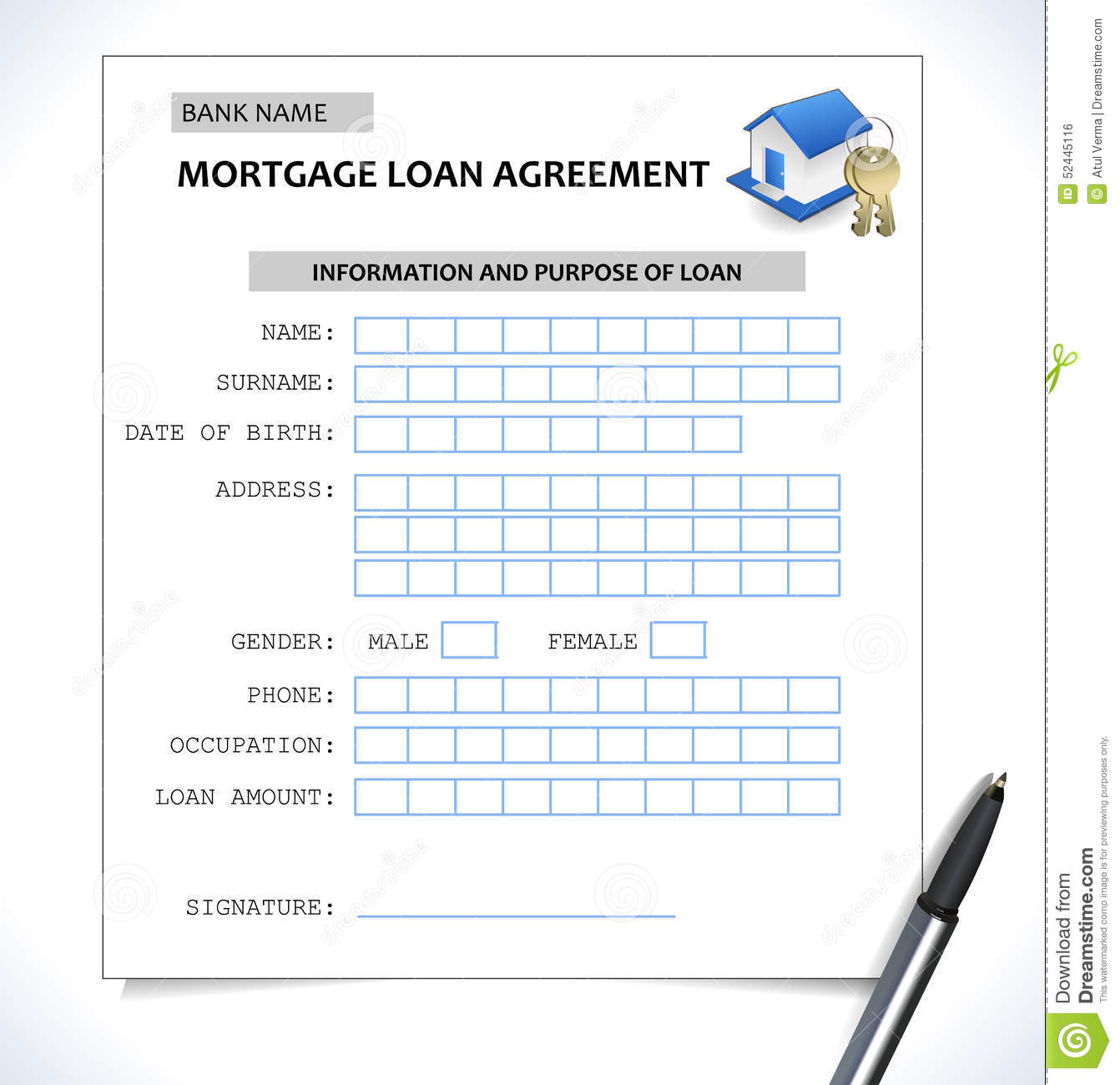 Mortgage Paper Form ,loan Application With Home Icon Stock Vector ...