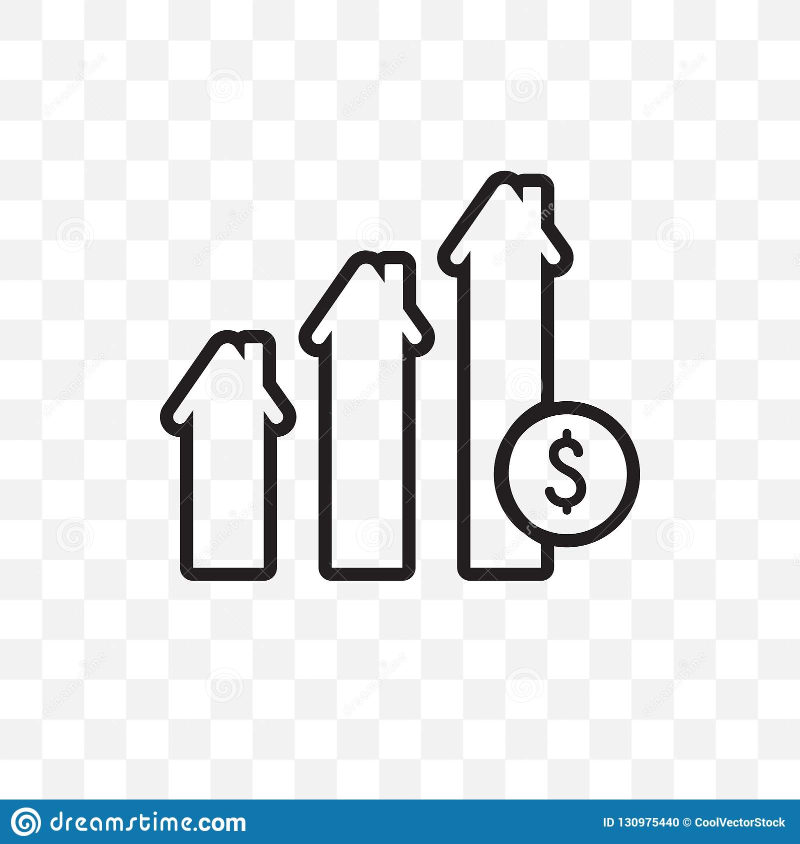 Mortgage Statistics Vector Linear Icon Isolated On Transparent