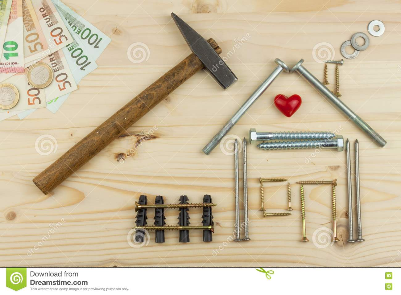 Mortgage To Build A House For The Family. Real Money To Build A House. The  Loan Money For Housing. Construction Of A New House. Components, Idea.