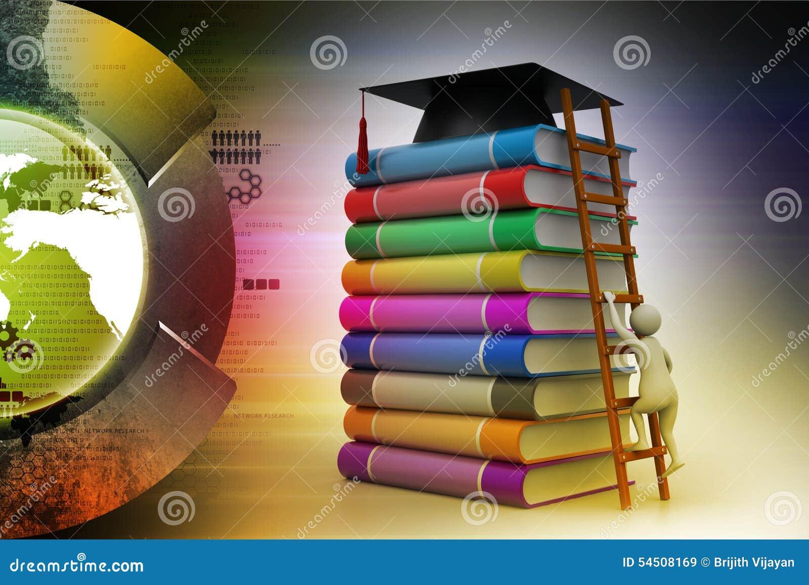 Mortier de graduation sur des livres
