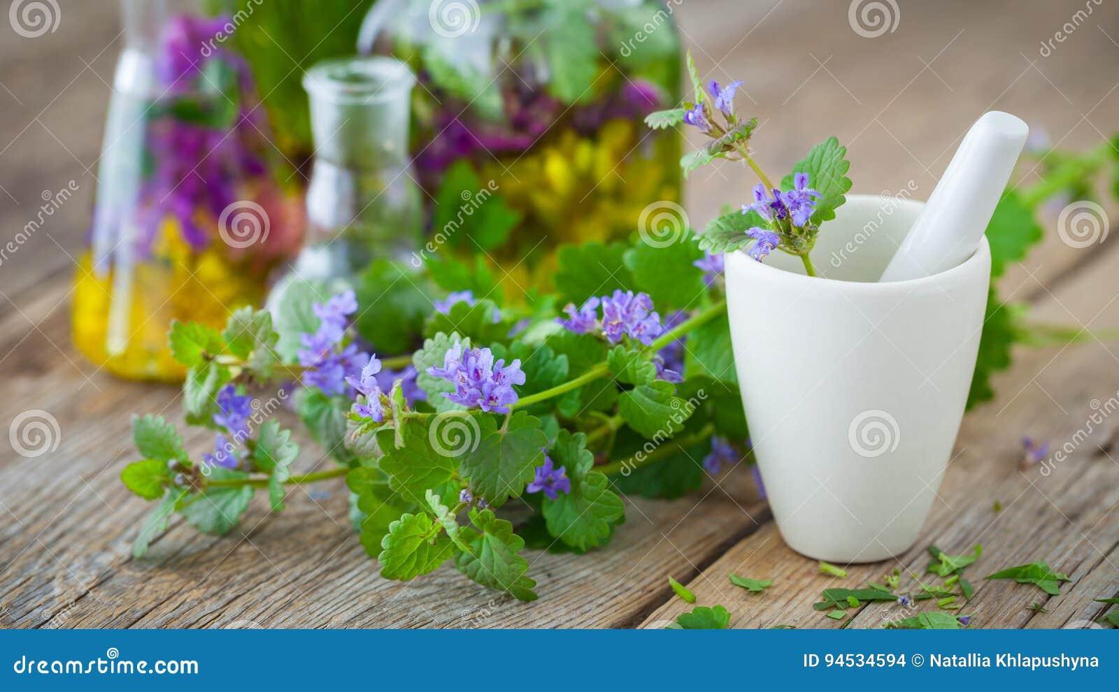 Mortier van het helen van kruiden en flessen gezonde tint