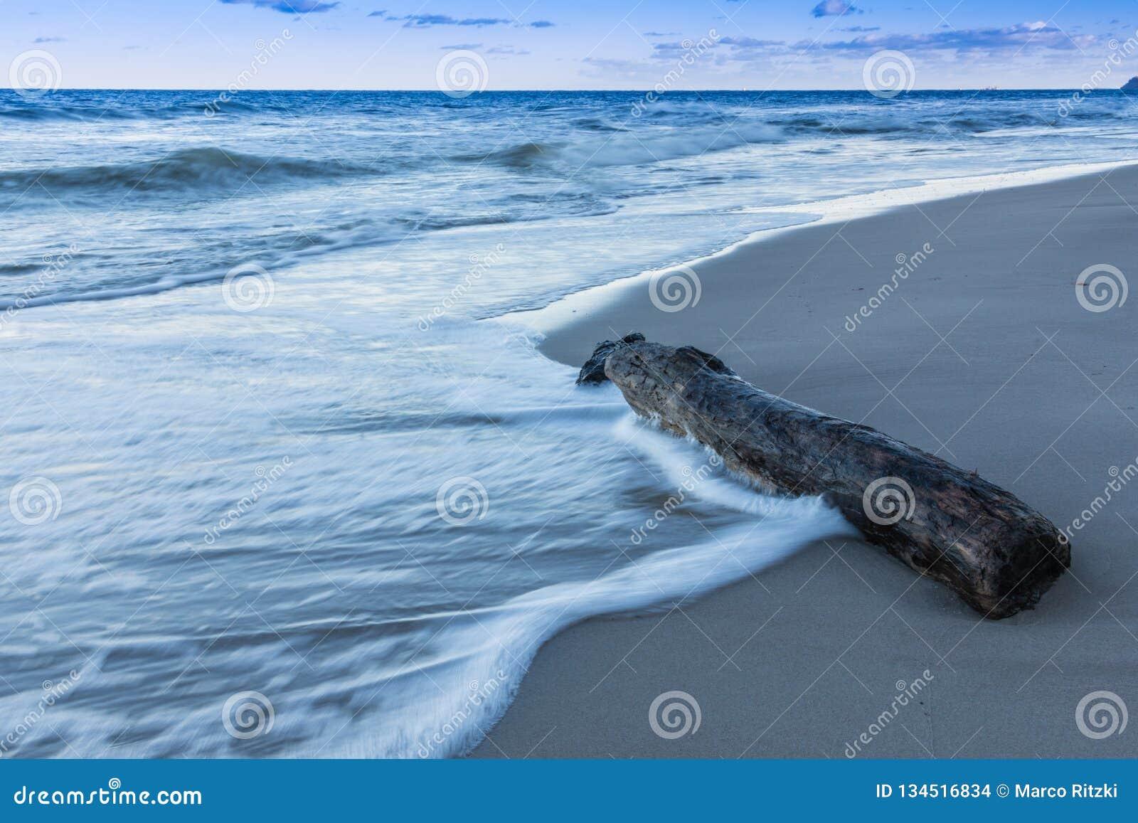 Morze Bałtyckie z falami i stary logujemy się plażę