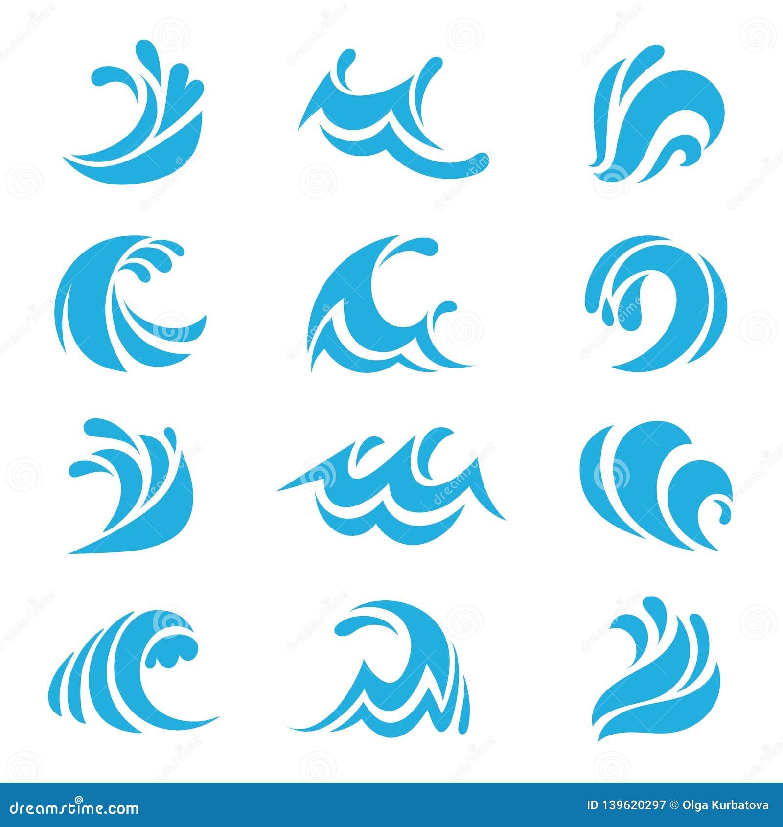 Morze fali set Ocean burzy przypływu fal wody rzecznej projekta kreskowych elementów falisty wektor odizolowywał kolekcję
