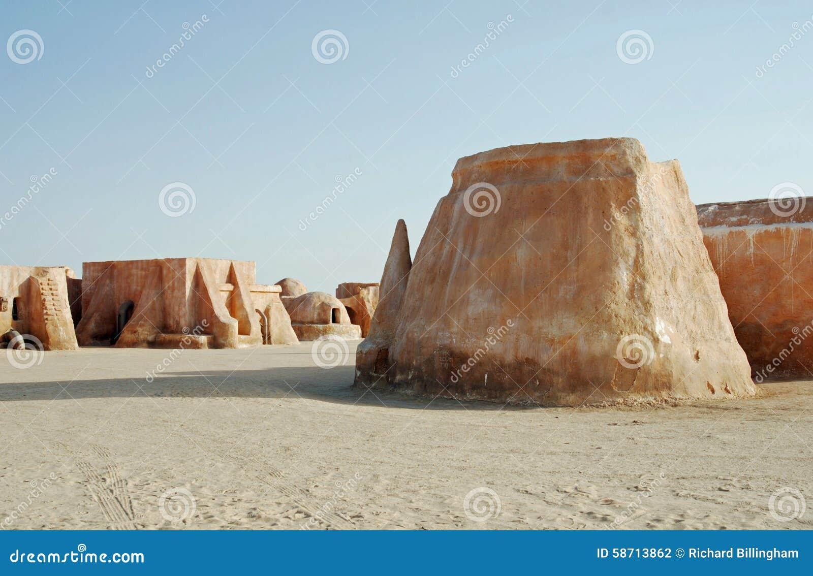 Mos Espa Star Wars-film in Sahara Desert wordt geplaatst die