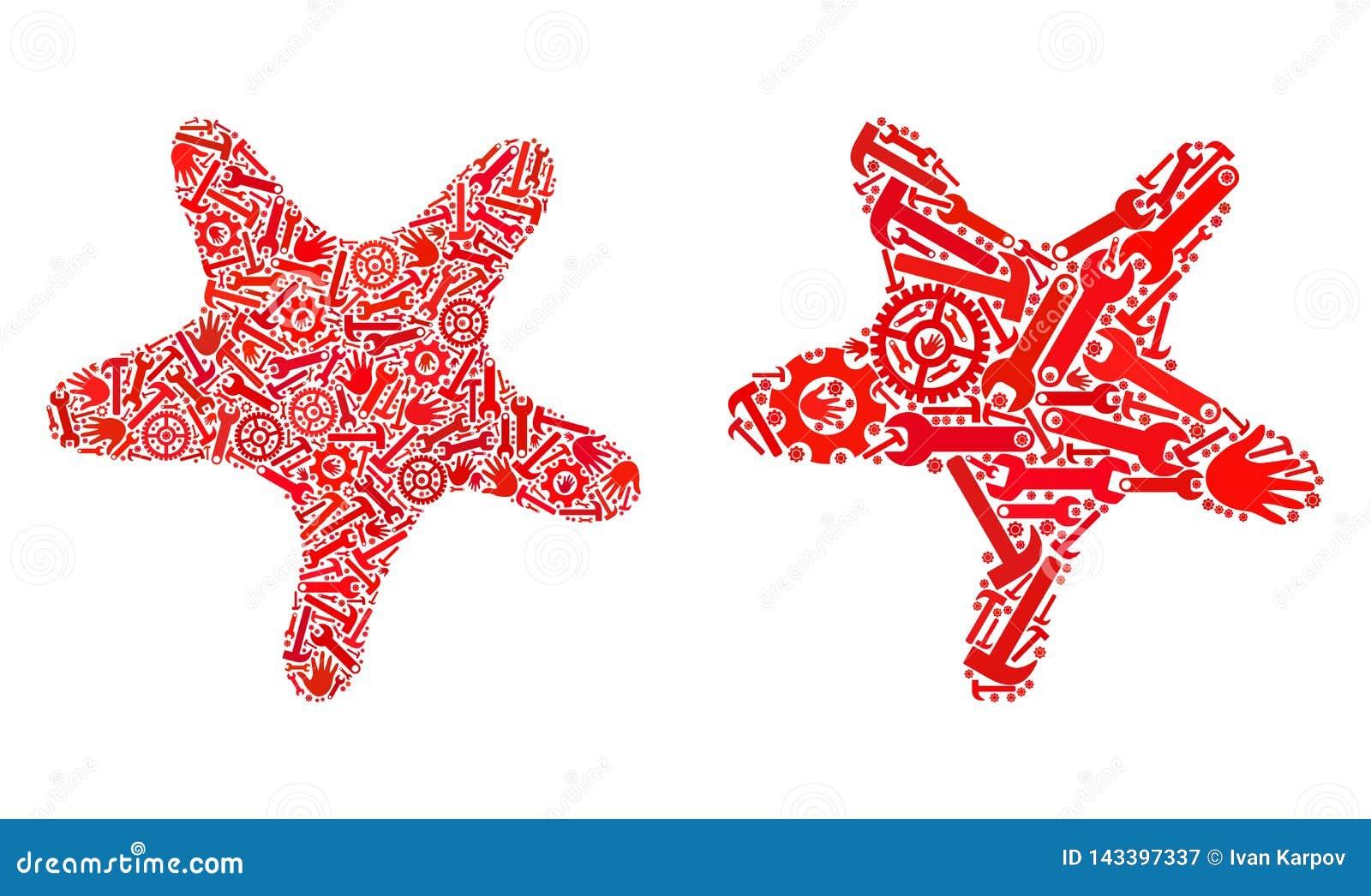 Mosaïque Bent Star Icons des outils de réparation