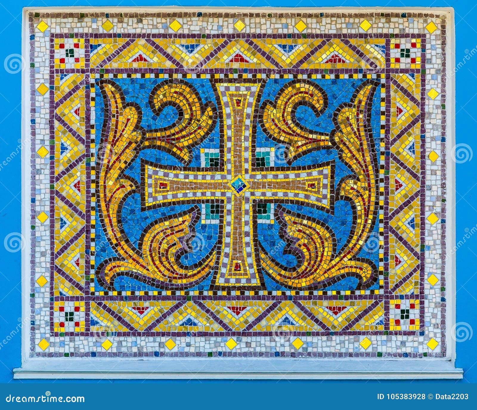 Mosaïque de vieil ornement chrétien