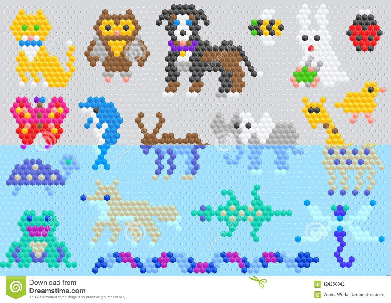 Mosaic animal vector animalistic abstract character cat dog and dolphin in kids game illustration childish set