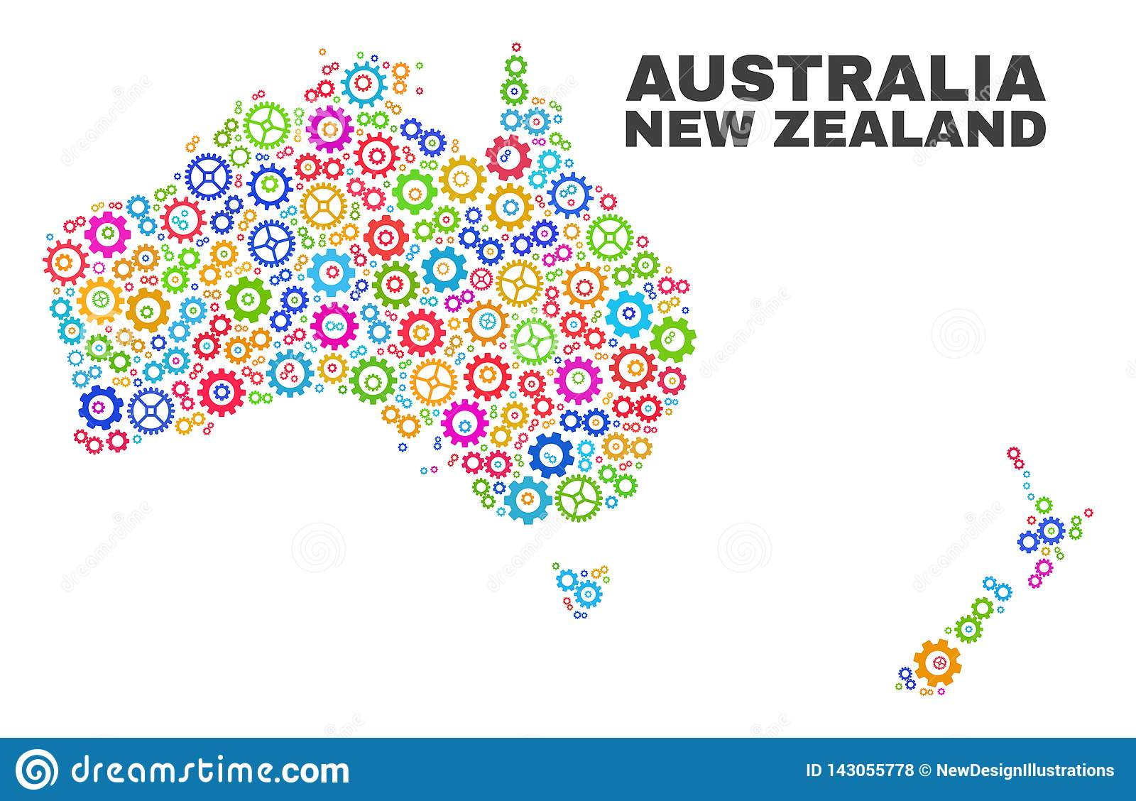 Australia To New Zealand Map.Mosaic Australia And New Zealand Map Of Gearwheel Elements Stock