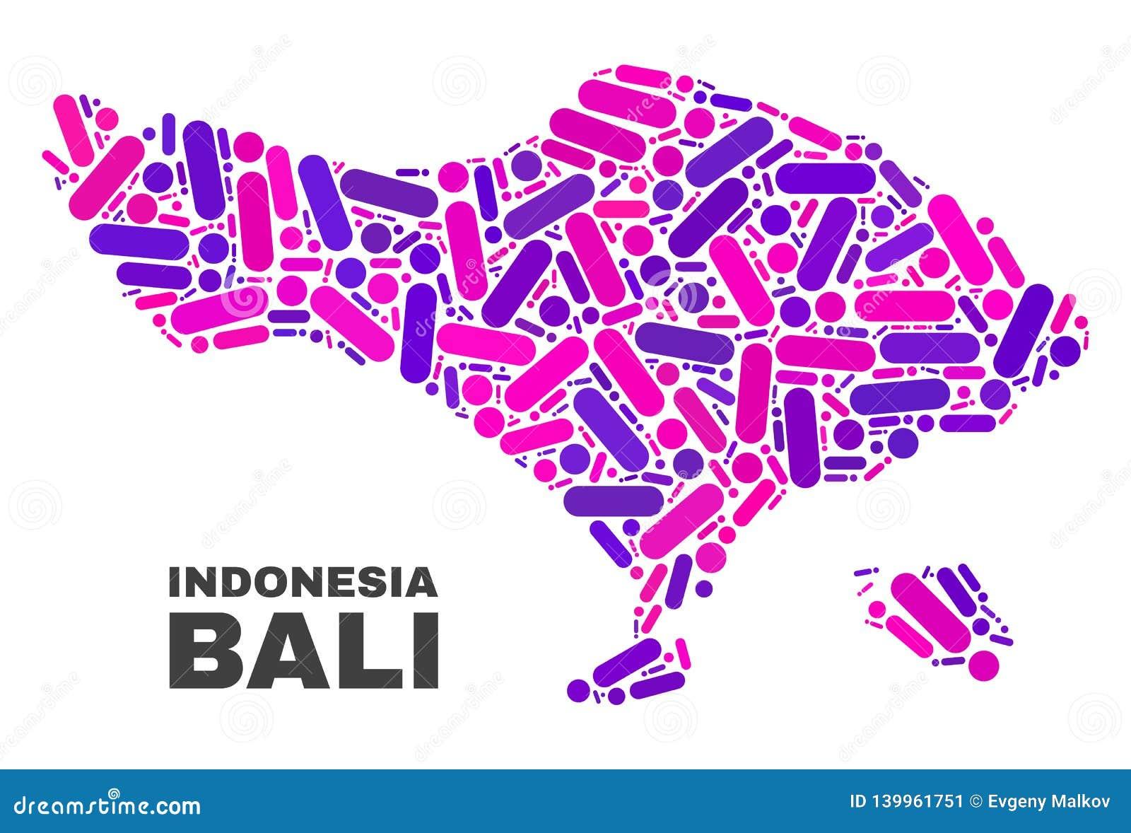 Mosaic Bali Map Of Dots And Lines Stock Vector